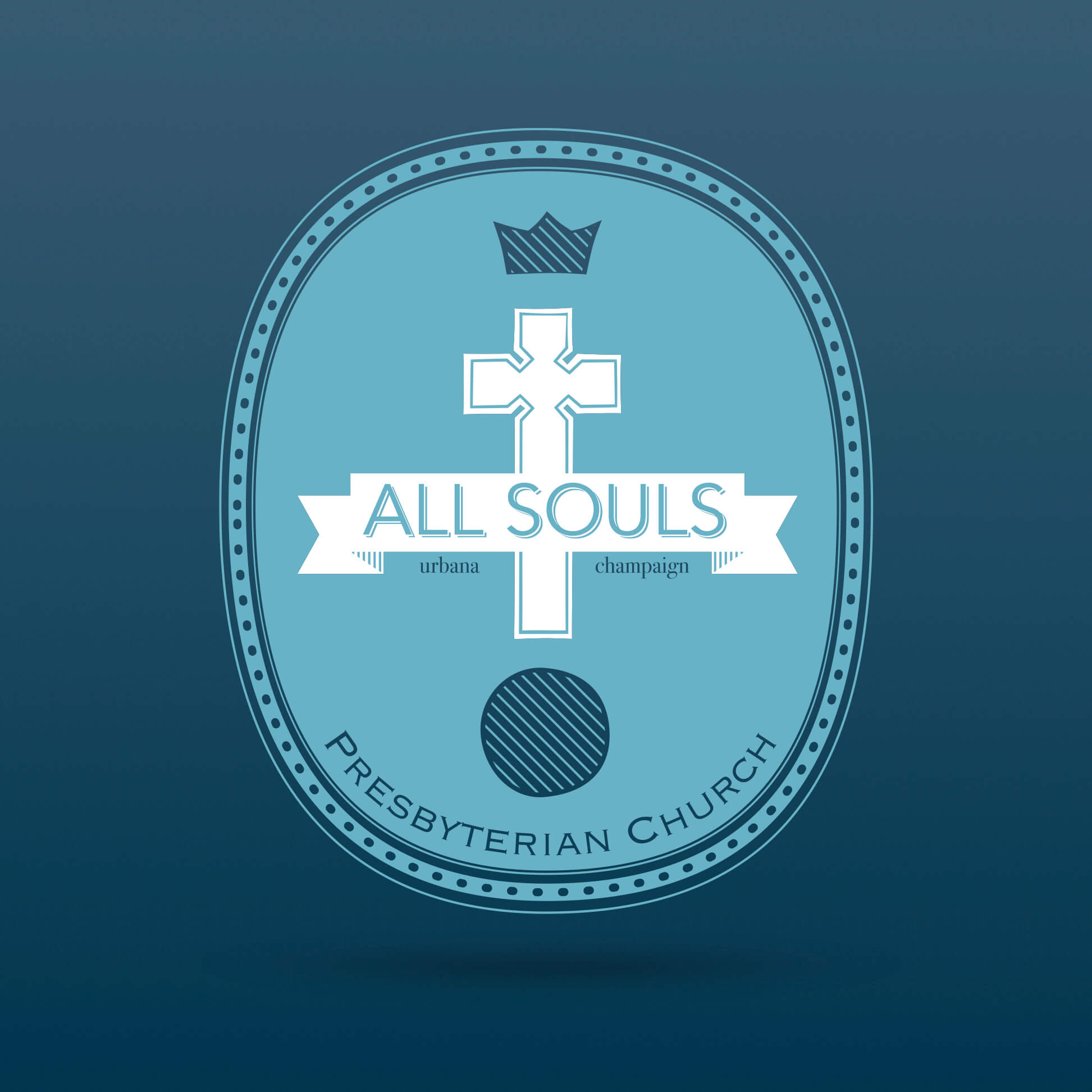 All Souls Logo on blue background