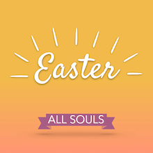 Gradient background with the word Easter