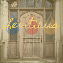 Leviticus Album Cover, Church door with Leviticus and three drops overlay