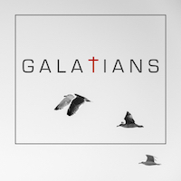 Galatians Album Cover, the word Galatians in black on white background, red cross for the t, and birds flying