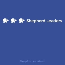 blue background with white sheep and the words 'Shepherd Leaders'
