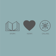 Image of an open book, a heart, and a compass